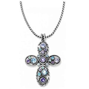 Brighton Blue Hues Halo Cross Necklace